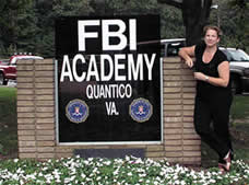 Caitlin at the entrance to Quantico